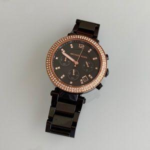 Michael Kors Watch - Black - Rose Gold Crystals